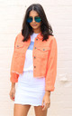Cropped Hacked Off Denim Jacket in Light Orange by One Nation Clothing