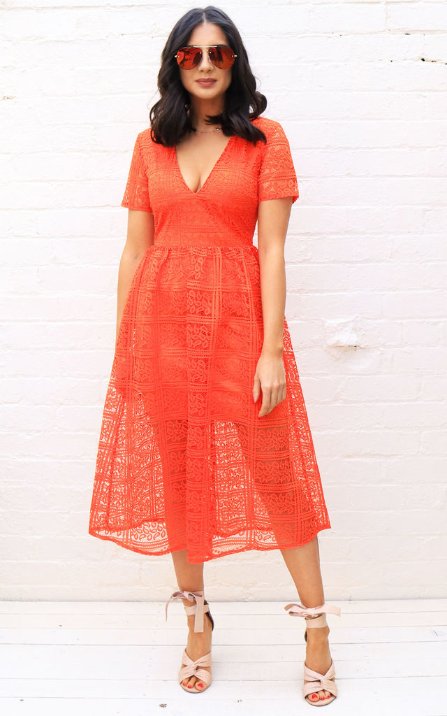 dfba9d6deffad Lace Overlay V Neck Midi Dress with Full Skirt in Orange by One Nation  Clothing