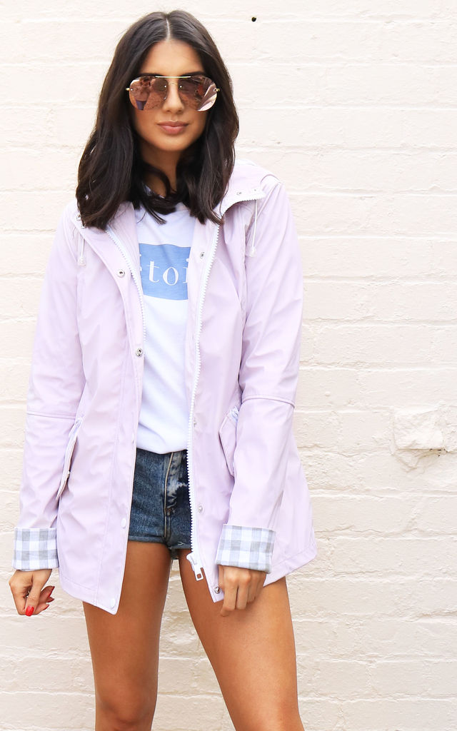 Kimmy Matte Rubberised Hooded Raincoat Mac in Lilac Pink by One Nation Clothing