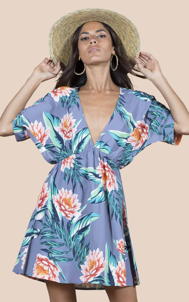 MILANO DRESS IN GREY LOTUS TROPICAL image