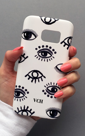 Evil Eye white monogram phone case by Rianna Phillips