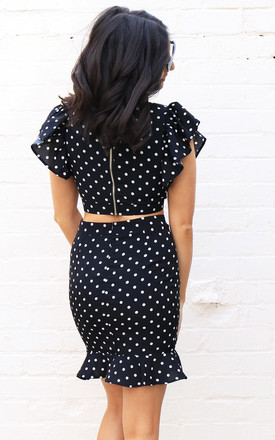 Polka Dot Print Deep V Frill Shoulder Wrap Over Crop Top in Black & White by One Nation Clothing