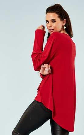 Red wrap detail dipped back hem top by Bella and Blue