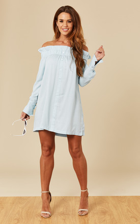 Business Class Off Shoulder Dress Light Blue by Mink Pink Product photo