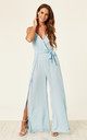 Split Leg Wrap Over Jumpsuit in Pastel Blue by Oeuvre