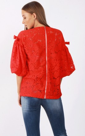 Red Lace Bow Detail Puffer Sleeve Lace Top by Urban Mist