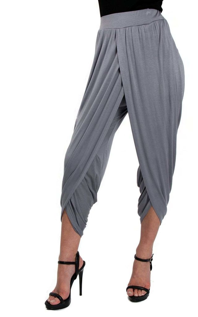 Grey  Soft Wrap Over Harem Pants by Urban Mist