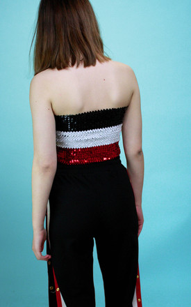 Black White Red Sequin Bandeau Boob Tube Festival Top by Save The People
