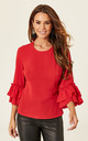 Ruffle Sleeve Blouse In Red by Madam Rage