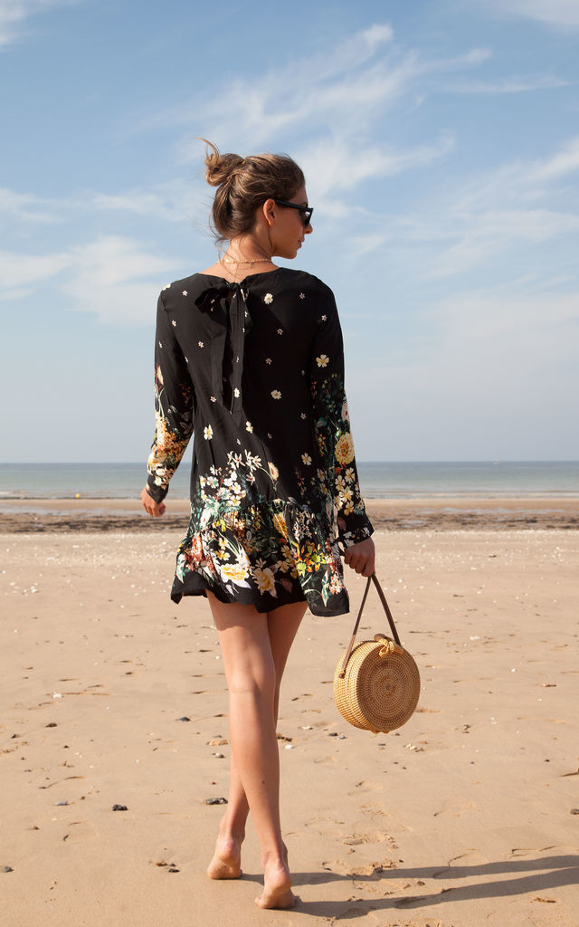 Black/Floral Long Sleeve Frill Playsuit by Styled In London