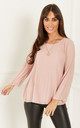 Pink Chiffon Pleated Bell Sleeve Top by Lilah Rose