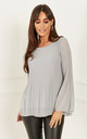 Grey Chiffon Pleated Bell Sleeve Top by Lilah Rose