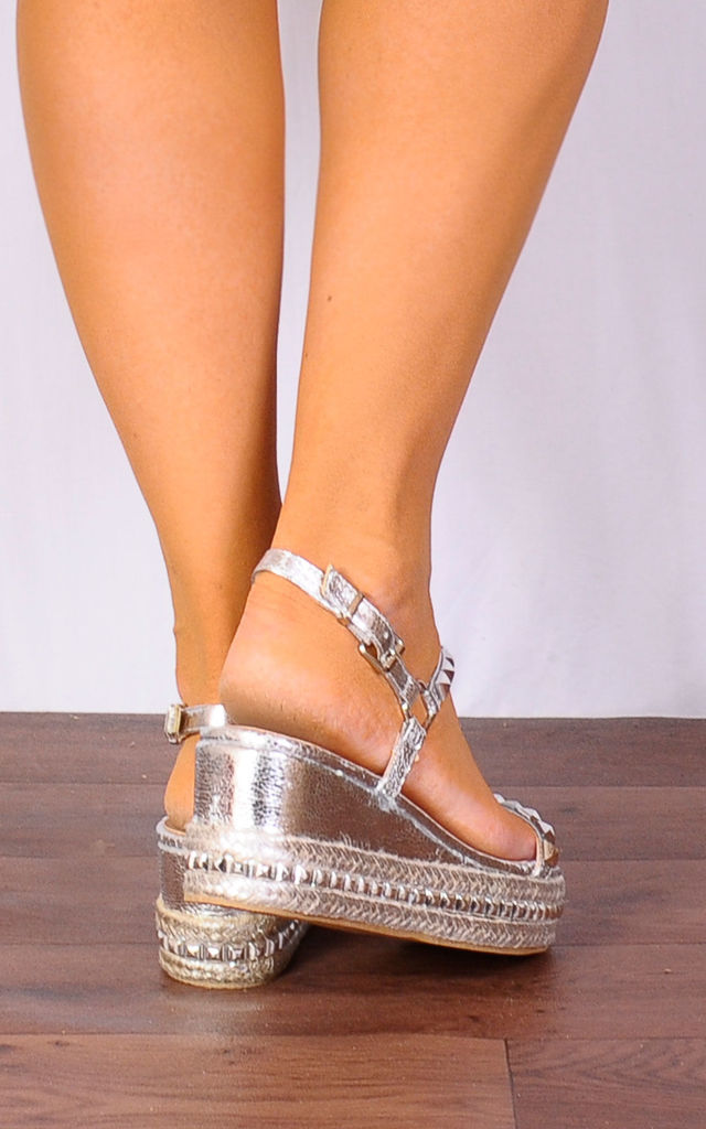 Silver Metallic Studded Wedged Platforms Wedges Flatforms Strappy Sandals by Shoe Closet