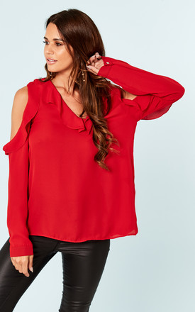 Red Frill detail cold shoulder top by Bella and Blue