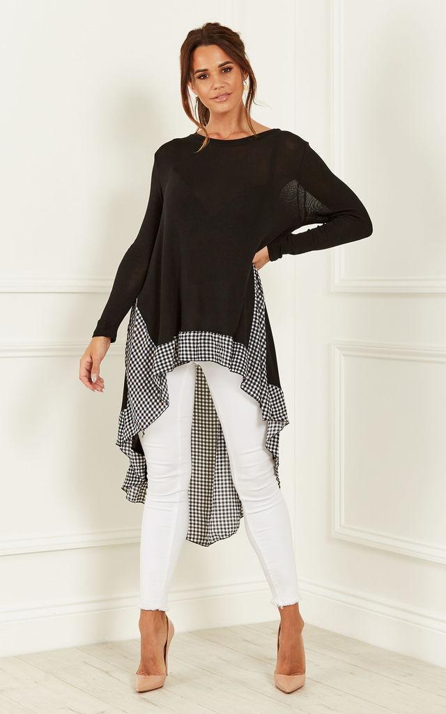 Black Checked Chiffon Back Top by Lilah Rose