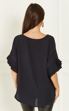 Navy Ruffle Sleeve Blouse by Bella and Blue
