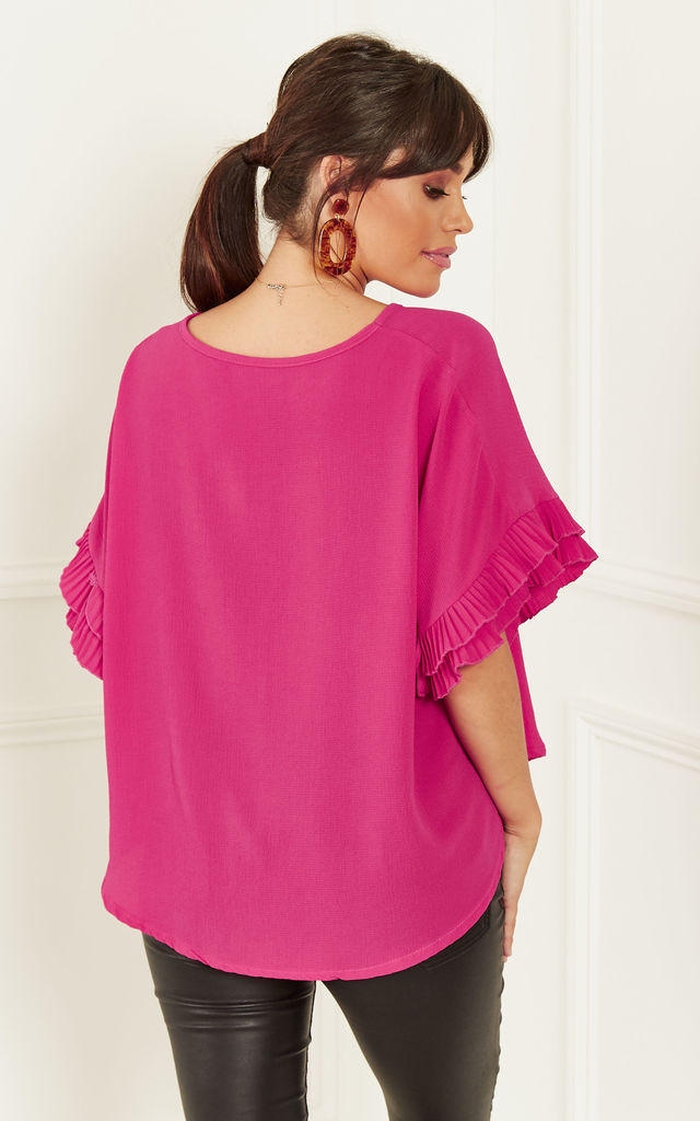 Fuchsia Ruffle Sleeve Blouse by Bella and Blue