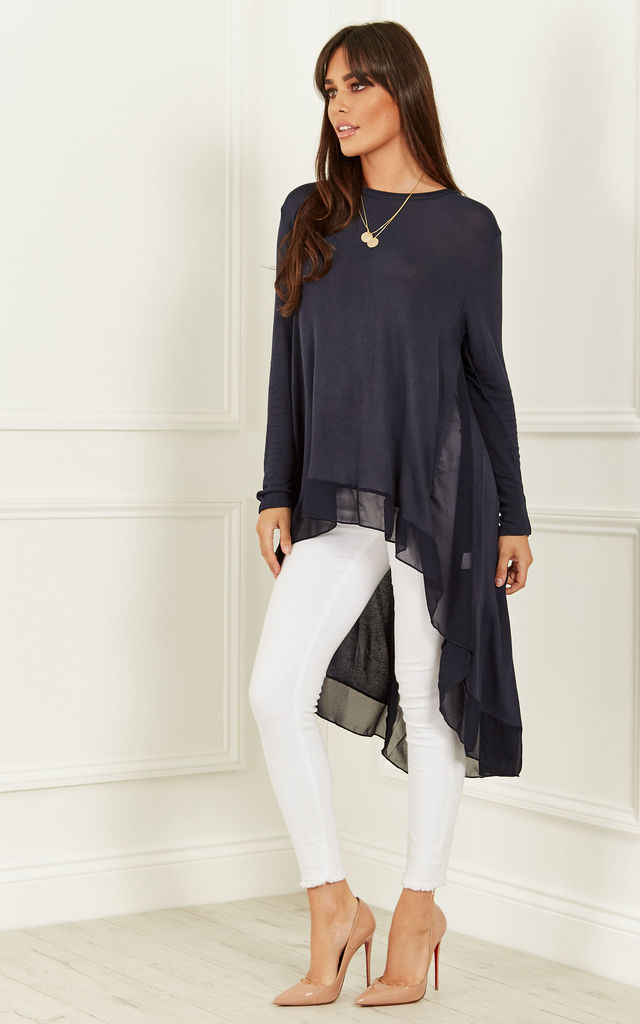 Navy Chiffon Back Top by Bella and Blue