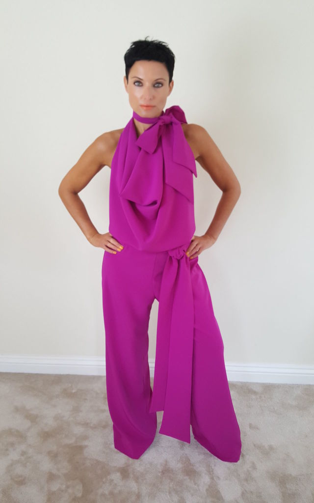 Pussy Bow Drape Jumpsuit Fusia Pink by House Of Lily