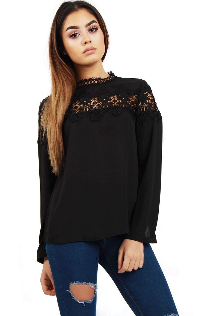 Black Long Sleeve Applique Lace Floral Summer Top by Urban Mist