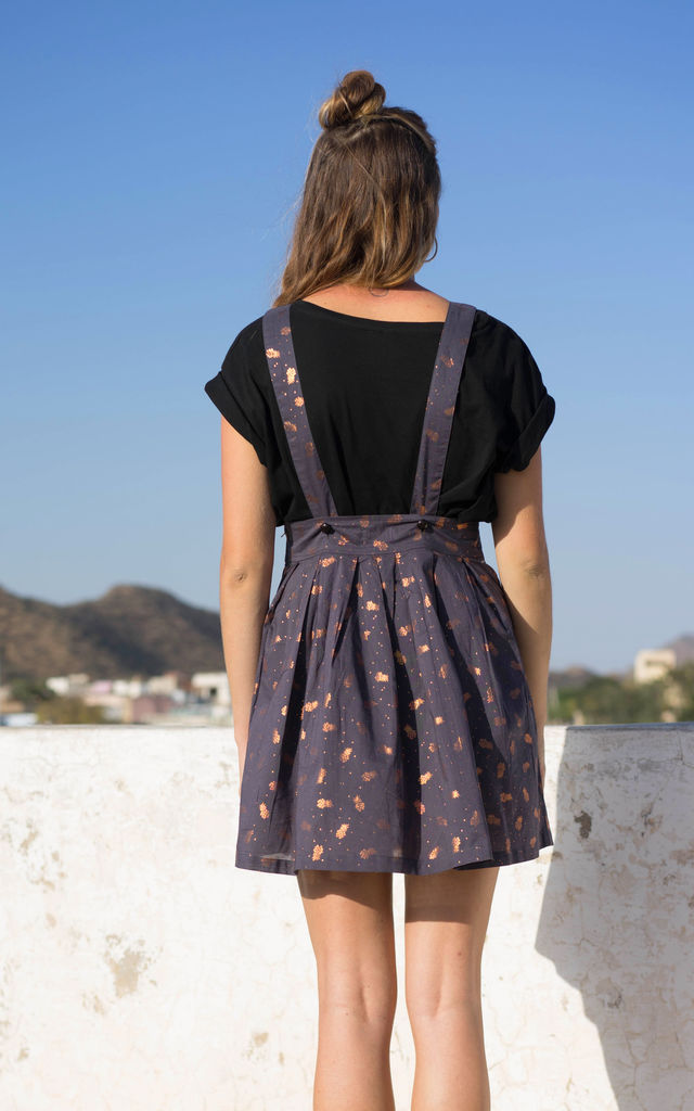 Sophie Pineapple Print Metallic Pinafore Dress with Copper Pockets by Krissyfied Boutique