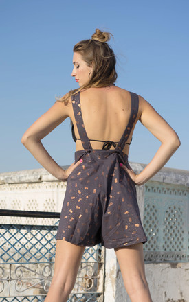 Sophia Gold Pineapple Metallic Print Culotte Style Playsuit with Copper Pockets by Krissyfied Boutique