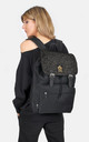 Black grey wool Herringbone panel laptop backpack by The Left Bank