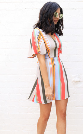 V Neck Fit & Flare Mini Dress With Short Angel Sleeve In Multi Stripe by One Nation Clothing Product photo