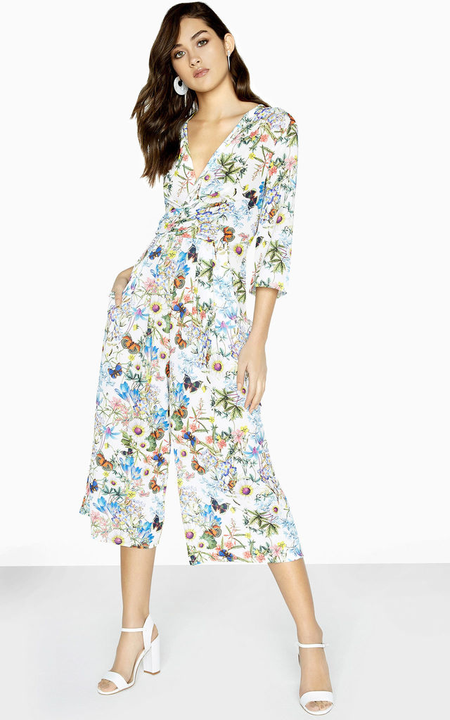 Lenny Culotte Jumpsuit In Floral Print by Girls On Film