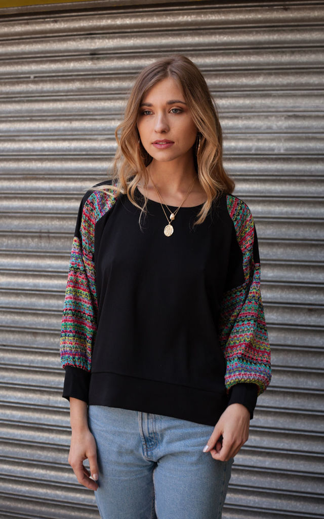Black Oversized Top With Rainbow Sleeves by Minkie