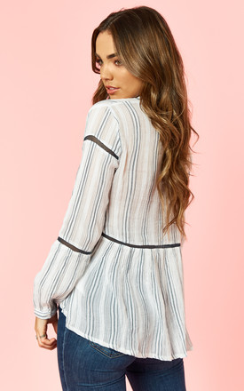 Sheer Cotton Lace Up Stripe Blouse by Glamorous