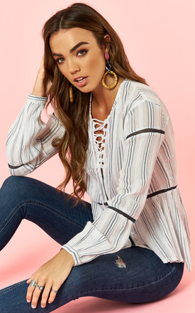 Sheer Cotton Lace Up Stripe Blouse by Glamorous Product photo