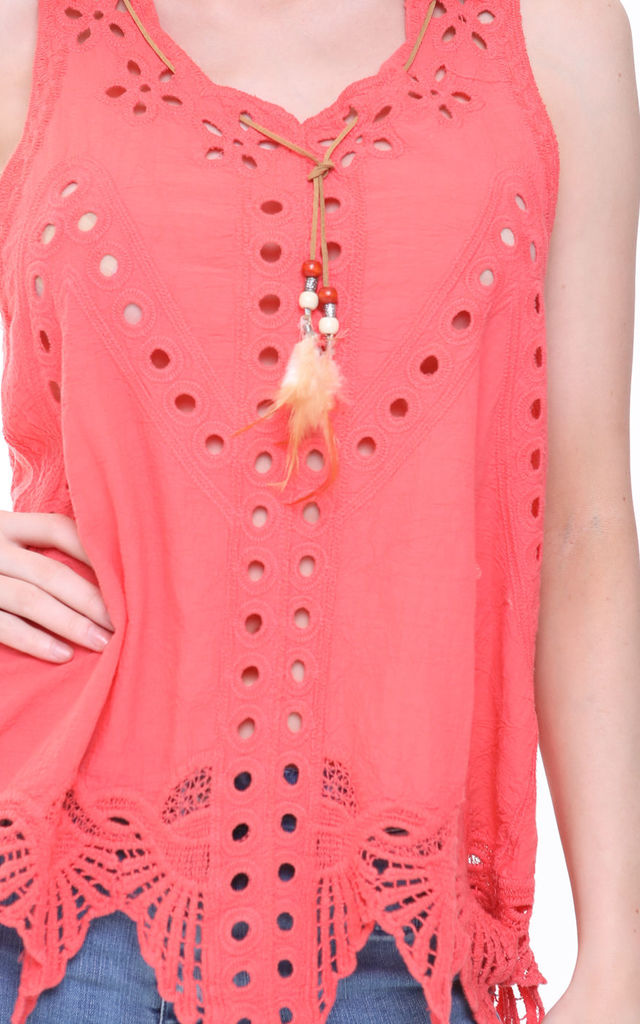 CORAL OVERSIZED CROCHET CUT OUT TOP by Aftershock London