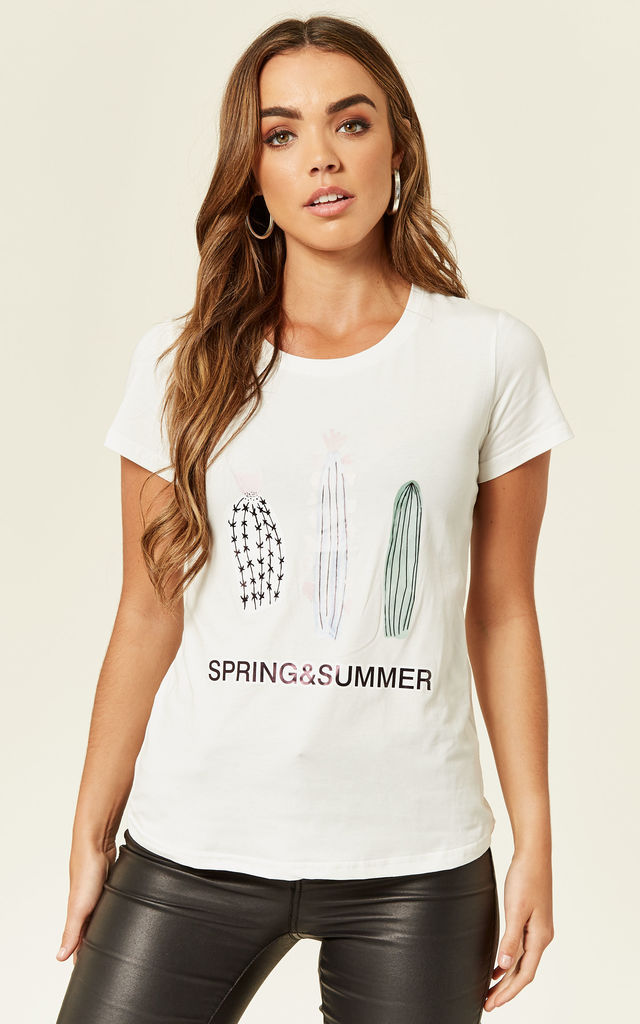 Seasonal Cactus White 'Spring & Summer' T-shirt by B. W. G.