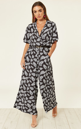 Leaf Wrap Palazzo Jumpsuit   Black & White by Ruby Rocks Product photo