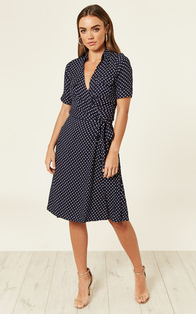 Polka Dot Shirt Wrap Dress - Navy by Ruby Rocks