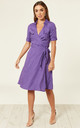 Polka Dot Shirt Wrap Dress - Purple by Ruby Rocks