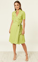 Polka Dot Shirt Wrap Dress - Green by Ruby Rocks