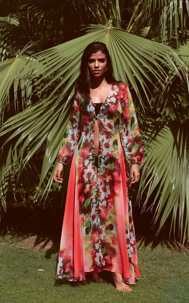 Floral Print Kaftan by Ambi The Brand