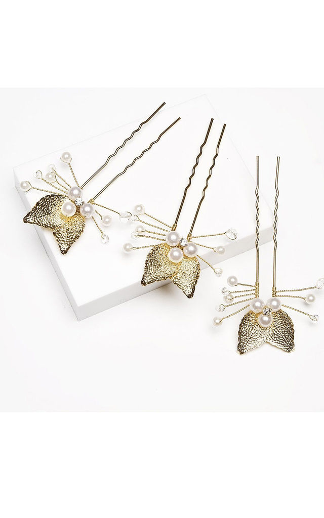 Pearl & Gold Leaf Trio Hair Pins by Johnny Loves Rosie