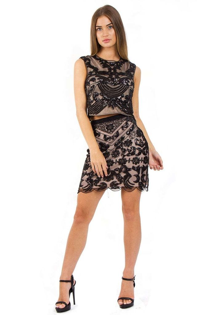 Black And Beige Embellished Cocktail Party Co-Ord Two Piece Set by Urban Mist
