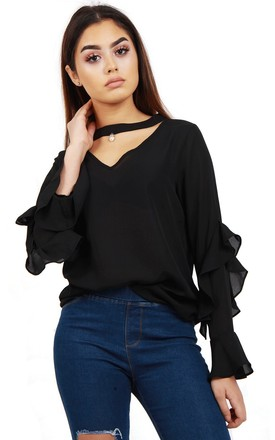 Black Chiffon Ruffle Sleeve Cut Out Neck Blouse Top by Urban Mist