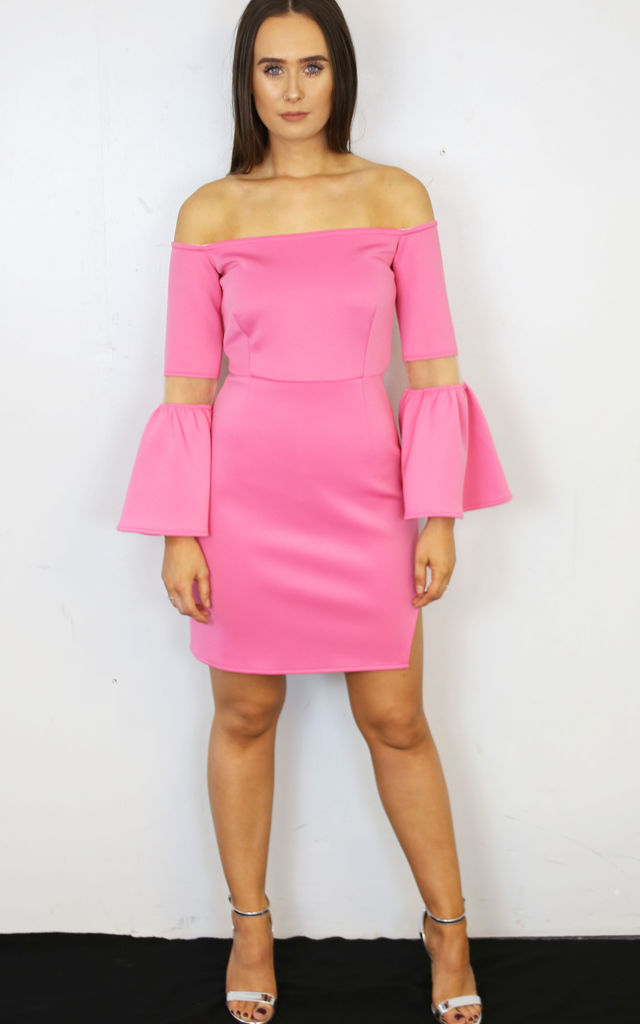Off The Shoulder Tulip Sleeve Dress Pink by ELLDXN LONDON