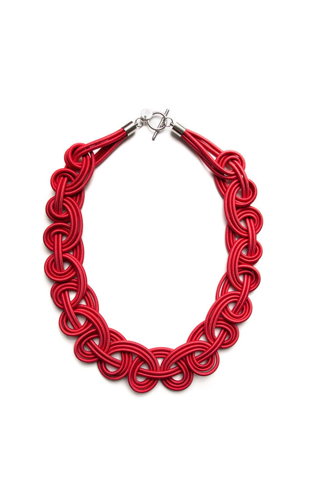 Ten Knots Chunky Necklace in Scarlet Red by U . Urska Hvalica