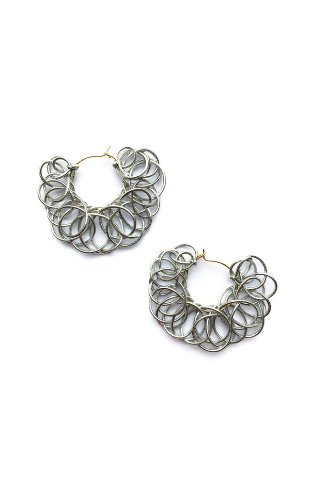 Knitted Hoops Silver by U . Urska Hvalica
