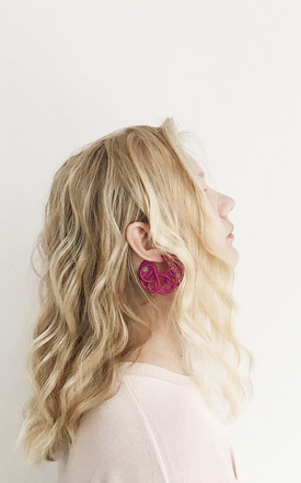 Knitted Hoop Earrings in Pink by U . Urska Hvalica