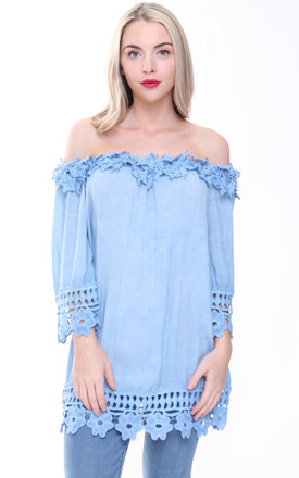 BABY BLUE OVERSIZED CROCHET BARDOT TOP by Aftershock London