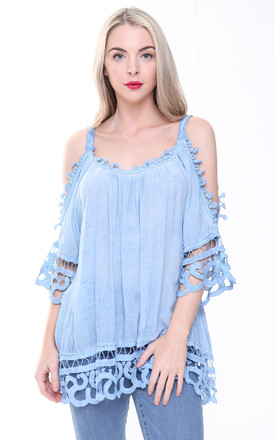 BABY BLUE COLD SHOULDER CROCHET TOP by Aftershock London