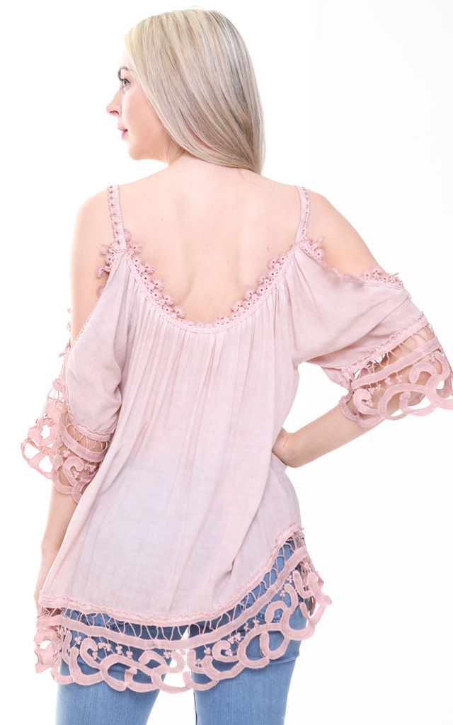 DUSKY PINK COLD SHOULDER CROCHET TOP by Aftershock London