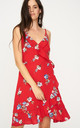 Floral Wrap Dress in Red by Zibi London